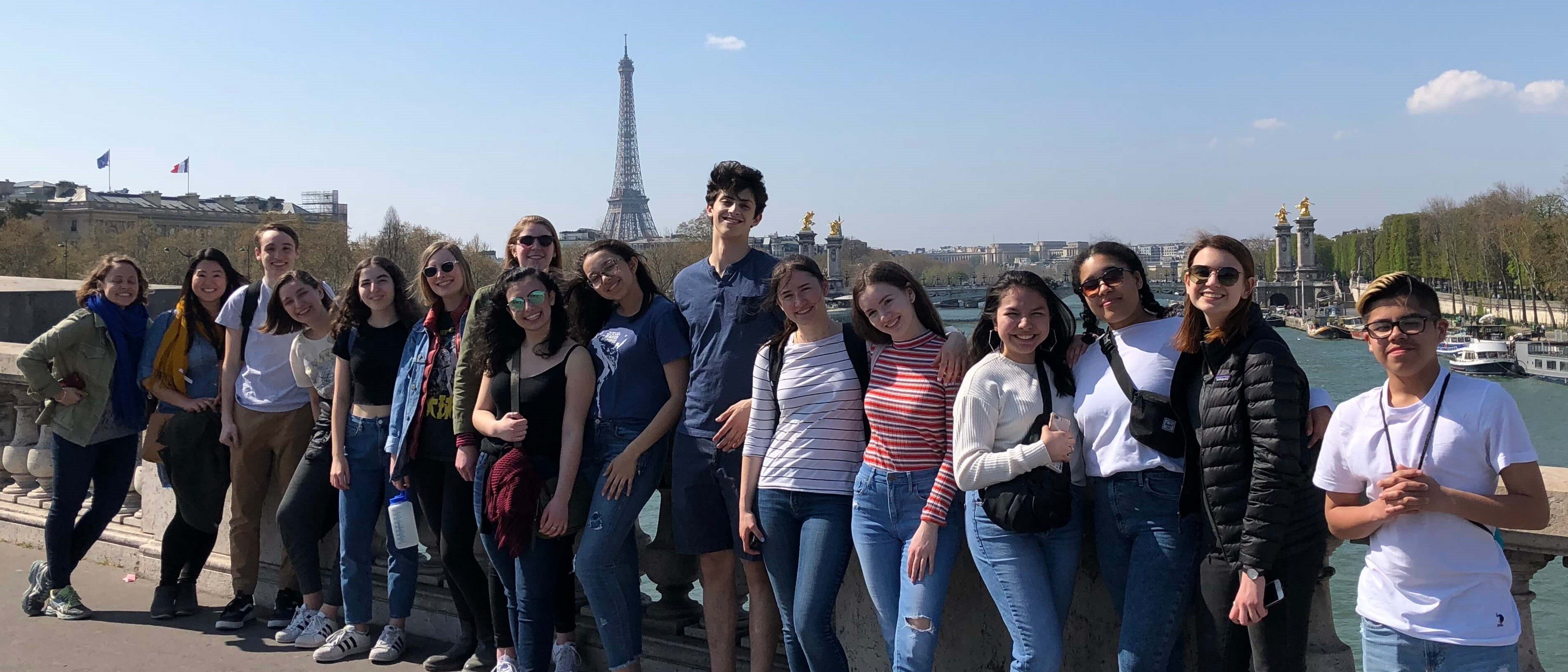 Kids in front of the Eiffel Tower