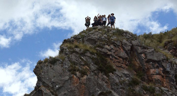 Peru landscape with students