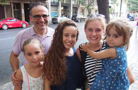 Student and host family on street in Andalucia