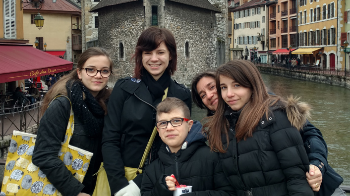 Student with host family in France